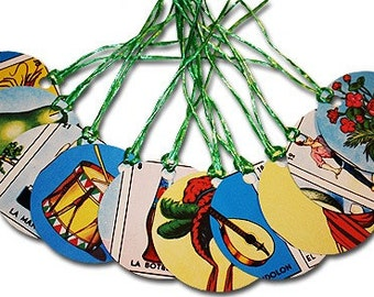 Mexican Loteria Paper Gift Tags Wishing Tree Tags