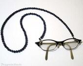 Sodalite Eyeglass Holder - Dark Blue Beaded Leash for Reading Glasses
