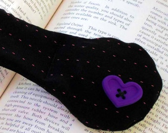 SALE Purple Heart on Black Pinstripe Bookweight - suiting fabric and glass handmade page holder, gift for bookworms readers, clearance