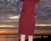 Handmade burgundy jersey cap sleeved business dress with tie belt size 6\/8 or small