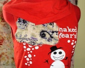 Red reconstructed naked t shirt size large