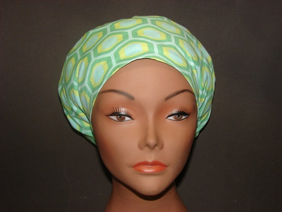 Amy Butler Midwest Modern Honeycomb Green Hats New Swirl Medical Surgical Scrub Hat Vet Nurse Chemo