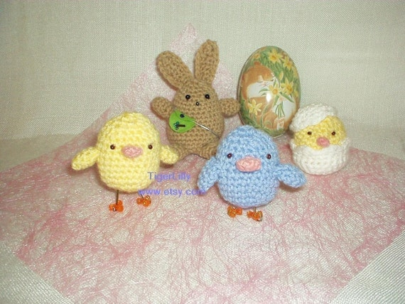 Easter Bunny and Chicks Amigurumi crochet pattern pdf FREE Delivery/ SHIPPING SALE