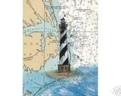 Cape Hattaras Lighthouse Outer Banks NC Nautical Chart Art Print Cathy Peek