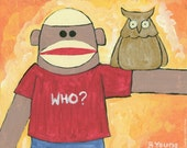 ART PRINT Sock Monkey and Owl PoP Folk Art