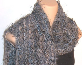 Hand Knit Designer Wide Scarf Hand painted Wool Silk Mohair STONE