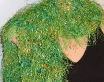 Hand Knit Scarf Eyelash Hand Painted Ribbon Arborvitae green