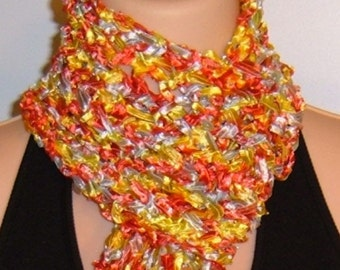 SALE Hand Knit Scarf Ribbon Blue Yellow Red Fringed Lace