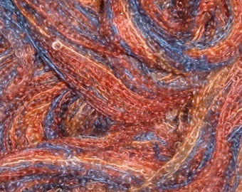 Hand painted Baby Loop Mohair Boucle Yarn MIDNIGHT REFLECTIONS blue red orange