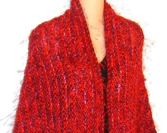 Hand Knit Designer Shawl Wool Mohair Ribbon RED gypsy bohemian