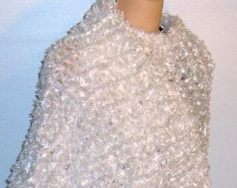 Hand Knit Shawl in WHITE Fringed Ribbon