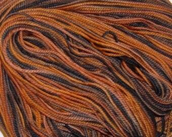 Hand painted Superwash Merino Wool Sport Yarn Leopard brown black