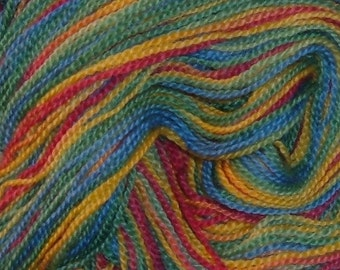 Hand painted Fingering Weight Blue Faced Leicester Wool Yarn PINATA yellow pink green blue