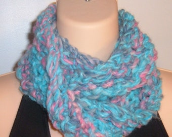SALE Hand Knit Wool Blend Moebius Scarf BLUE PINK
