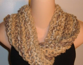 SALE Hand Knit Wool Blend Moebius Scarf BROWN CREAM