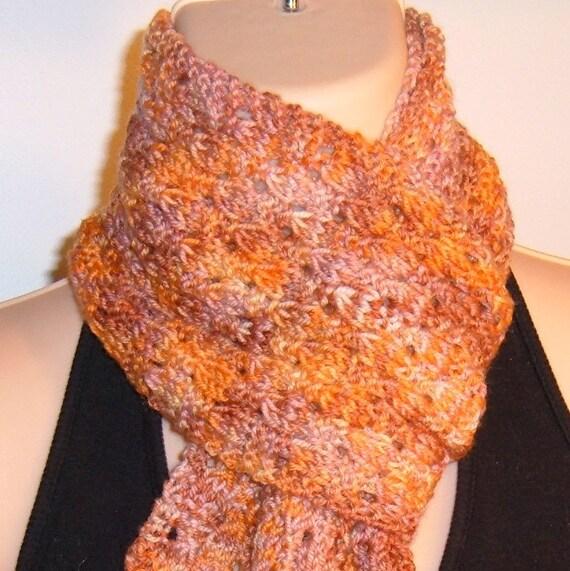 Hand Knit Merino Wool Scarf Hand Painted EVENING SUNSET