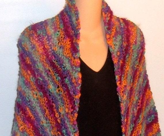 Hand Knit Designer Shawl Mohair Cotton Wool Linen TROPICAL bohemian