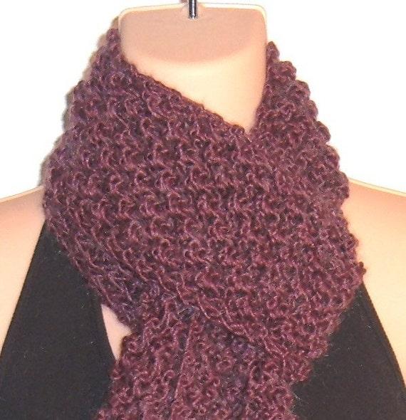Knitting Patterns For Kid Mohair : Hand Knit Trinity Scarf Merino Wool Kid Mohair PLUM