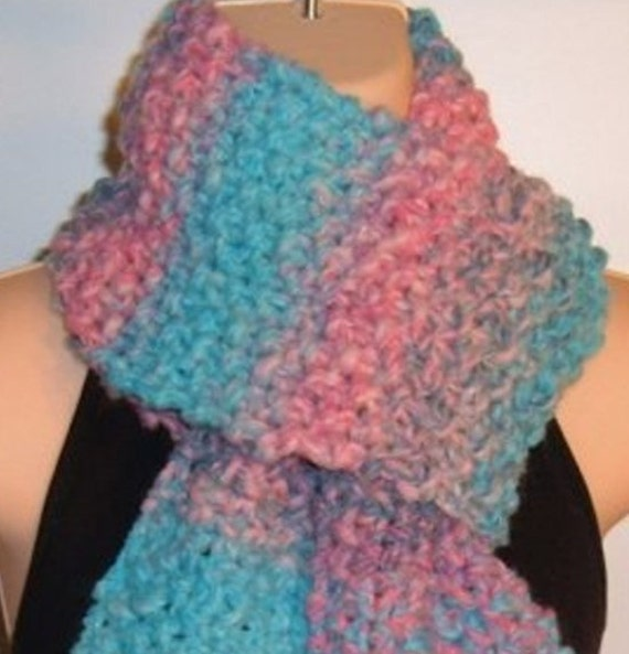 Hand Knit Wool Scarf PINK BLUE handmade chunky 66 inch