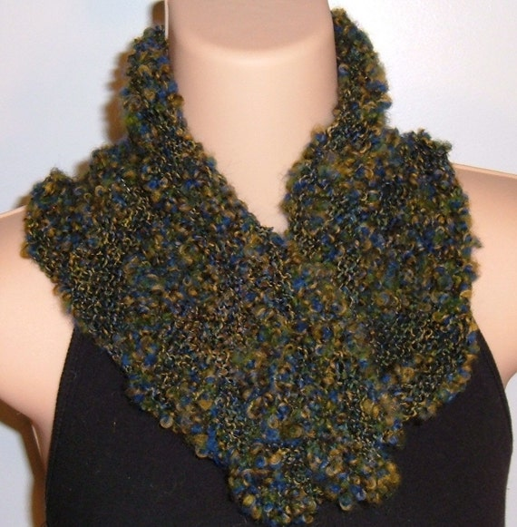 Hand Knit Wool Cotton Moebius Scarf  Blue Harbor