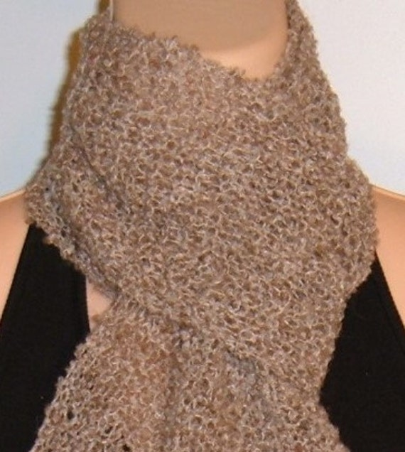 Knitted Scarf Patterns Alpaca Yarn : Hand Knit Scarf Lace Alpaca Wool Boucle Light Brown