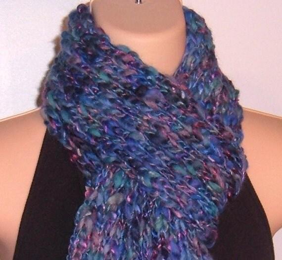 Hand Knit Chunky Wool Scarf DELPHINIUM rib stitch