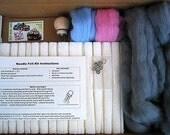 DIY Needle Felt Kit Grey, Lt Pink & Sky Blue