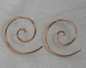 Spiral earrings 14 gauge, 14k ROSE gold fill, Spiral  earrings, 3's