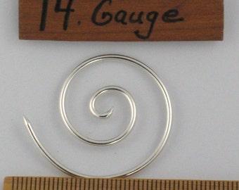 14g, Sterling Silver, Spiral earrings, 5's
