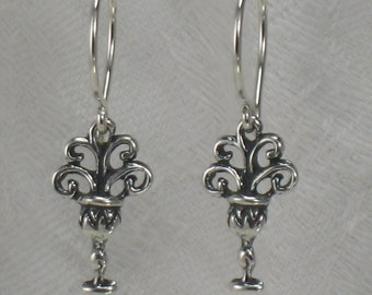 Ace of cups earrings, Sterling Silver, free shipping