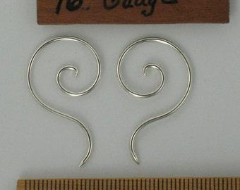 Spiral drop Earrings 16 guage, Sterling Silver.  pair (3,s)