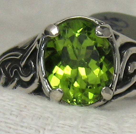 8x10 Peridot, Celtic knot ring, Solid sterling silver