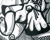 Stylish black and white female nude ACEO art deco artist print 2