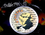 Halloween ornament - Victorian witch and moon - large