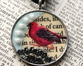 Victorian red bird necklace - one of a kind collage inside