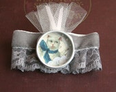 Victorian cat brooch - one of a kind collage inside