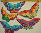 RARE LAUREL BURCH Butterfly Fabric Appliques Flying Colors 8 Iron On