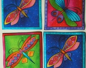LAUREL BURCH Dragonfly Rare Fabric Appliques Flying Colors 8 Squares Iron On