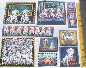 DALMATIAN Dogs Puppies Basket 9 Fabric Appliques Iron On Timeless Treasures