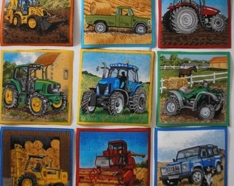 TRACTORS Truck Fabric Squares Farm Farming Combine 9 Appliques Makower UK