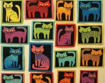 CATS Neon 18 Fabric Appliques Michael Miller Tabby Tiles