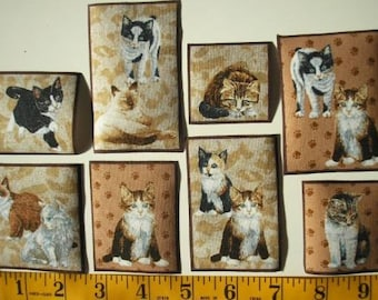 CAT FABRIC Kitty City Appliques Marcus Bros Kittens Calico Tabby Siamese Persian RARE