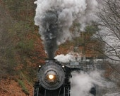 Steam Engine Leaving Brush Tunnel 8x10 matted print (11 x 14 mat)
