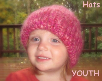 Hearty Homestead Hat - thick handknit hats with double layered hem brim -