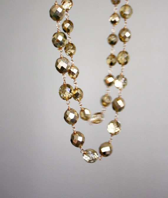 Goldie necklace - gold sparkling necklace, gold and glass beads, shimmering holiday necklace