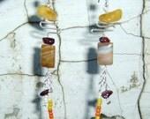 Silver Dangle Earrings with Amber and Agate, Joyful Balancing Sun Stones