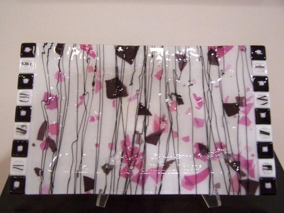 Cherry Blossom Fused Glass Platter