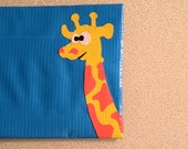 Blue Duct Tape Wallet With Giraffe