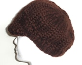 Intro Sale - Chocolate brown hand knit newsboy hat, super chunky Merino wool - Free Shipping
