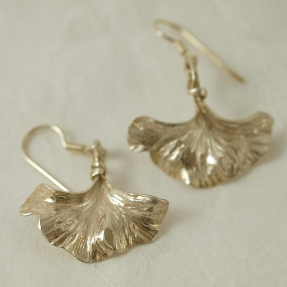 Hammered Silver Ginkgo Leaf Earrings